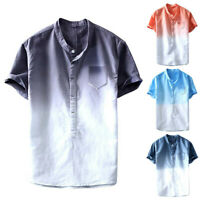 Summer Men's Cool And Thin Breathable Collar Hanging Dyed Gradient Shirt DZ
