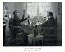 Hans Gabriel Jentzsch Ein volles Glas dem neuen Jahre! Histor. Kunstdruck 1913