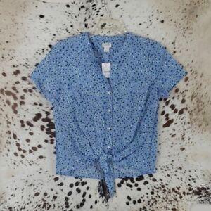 J. Crew Ladies Floral Tie Front Button Up Shirt Blouse sz Small