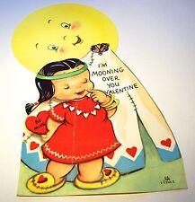 Vintage 1958 Valentine - Big Moon And Native American Girl