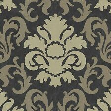 Carat Black and Gold Glitter Damask Wallpaper Paste the Wall Vinyl 13343-90