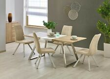 """TREVOR"" Scandinavian Rustic Extending Oak/White Dining Table & Chairs"