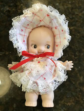 Vintage Porcelain Bisque Kewpie Doll w/ Wings Jointed Arms Red Heart Lace Dress