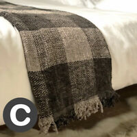 Luxury Woollen Touch Silver Dark Grey Large Tartan Bed Sofa Blanket Throw Thick