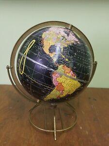 Vintage Cram's Terrestrial Globe Black Ocean 105B Durogyral Brass Stand