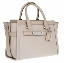 NWT Coach Swagger 27 Pebble Leather Carryall Satchel in SV/Grey Birch 34816 $450