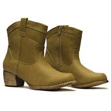 Ladies Womens Cuban Heel Cowboy Riding Western Biker Zip Ankle Boots Shoes Size