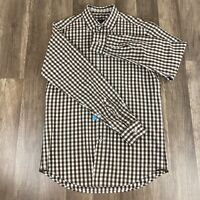 Ermenegildo Zegna Sport Casual Shirt White / Brown  Sz Small Italy EUC Checkered