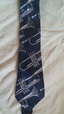 Mens Tie A. Rogers Navy Blue Trombone Brass Instrument Band