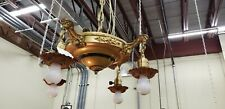 BRASS VICTORIAN STYLE 4-ARM HANGING LIGHT FIXTURE-Completely rewired