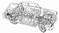 A3 Lotus Cortina Cutaway Drawing Wall Poster Art Picture Print