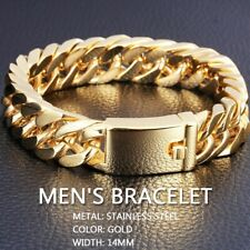 """Gold Plated Men's Jewelry Stainless Steel Curb Cuban Chain Bracelet 8.5"""" Gift g3"""