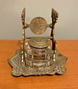 Antique Victorian 1870s Judd Nickel Plated Cast Iron Inkwell W/ Insert Complete