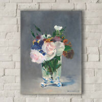 Edouard Manet: Flowers in a Crystal Vase. Canvas Art Print