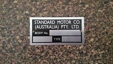 Standard Motor Co Aust Build Plate early Toyota Tiara Publica Crown