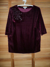 FRENCH LAUNDRY-WOMENS FRENCH LAUNDRY TOP-PLUS SIZE-PLUSH-WINE COLOR-SIZE 22/24