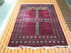 Oriental Rug Home Red Color Striped Design Carpet Geometric 4'x6' Hand-Knotted