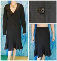 ST JOHN Evening Black Jacket Skirt L 14 16 2pc Suit Silk Trims Buttons Pin