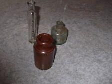 Antique / Vintage Bottles And Stone Ink Pot