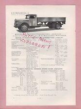 ULM, Typentafel 1934 C. D. Magirus AG Lastkraftwagen Omnibus M15V-M50 Diesel M25