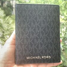 Michael Kors Medium Leather Jet Set Travel Passport Case id Wallet Black Silver