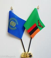 Commonwealth & Zambia Double Friendship Table Flag Set