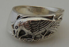 RAVEN Ring .925 Sterling Silver Sz 11 Magickal CROW - Morrigan Dark Moon Ring
