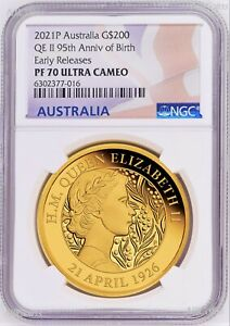 2021 QUEEN ELIZABETH 95th Birthday 2oz .9999 GOLD $200 Proof coin NGC PF70 ER