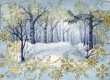 ACEO Original Miniature Watercolor Landscape Winter by Elena Mezhibovsky