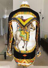 GIANNI VERSACE Native Americans silk shirt w/ beaded fringe worn Naomi Campbell