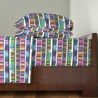 Library Book Rainbow Books Bookshelf 100% Cotton Sateen Sheet Set by Roostery