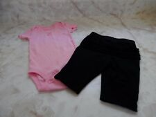 Baby Girl Carters Pink Flower Romper Jumping Beans Black Stretch Pant Outfit Set