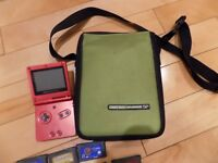 Nintendo Game Boy Advance SP Red Hand Held System Bundle 9 Games & Case AGS-001