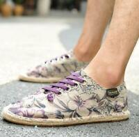 Mens Flat Leisure Sneakers Canvas Pumps Lace Up Fisherman Floral Mules Shoes Sz