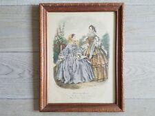 Antique Fashion Print Miroir des Modes Post Civil War Era Ladies Lithograph EUC
