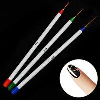 Neu 3 Stück Nagel Nail Art Set Pinsel Pen Stift Bürsten Nageldesign Set Werkzeug
