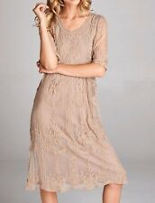 M/L MOON & RIVER Dress Taupe {Set of 2} Bodycon Intimates Modest Floral Rose