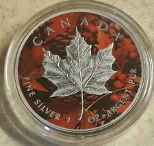 2015 1 Oz Ounce Silver Maple Leaf Coin .9999 Antique Finish Fall Red Theme