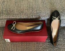 NIB Salvadore Ferragamo Sofie Flat Ballerina Shoes Black with Gold Trim Sz 8