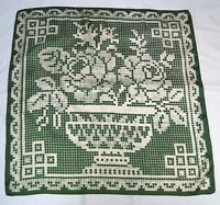 Echo Green and White Roses Bowl Crochet Design Pattern Luxurious Silk Scarf !