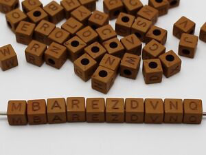 200 Brown Color Assorted Alphabet Letter Cube Pony Beads 8X8mm