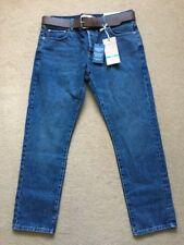 """NEXT Men's Mid Blue Slim Fit Jeans with Belt, 34S, W34"""" L29"""", £40"""
