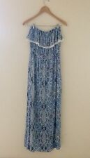 Garage Womens Juniors Strapless Maxi Dress Multi Print Blue White Size Medium
