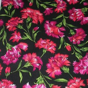858J Cotton Quilt Fabric RED CARNATIONS A Year in the Meadow HOFFMAN INTN'L 1YD