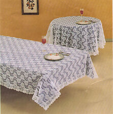"""RACHEL LACE TABLE CLOTH WHITE 60"""" x 80"""" Oblong NEW MADE IN USA"""