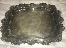 """Large 14"""" VTG Silver On Copper Footed Serving Butler Tray Marked Stamped"""