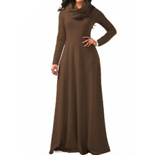 Women Maxi Dress Cowl Neck Casual Long Sleeve Swing Fall Winter Dress Loose Fit