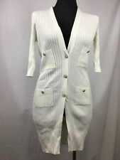 CHANEL Ivory/Soft White 100% Cotton Ribbed Long Cardigan Sweater Size 38
