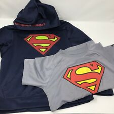 Superman Under Armour Hoodie and T-shirt Y SM XS YSM YXS Alter Ego Storm Blue