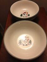 Pfaltzgraff SNOW VILLAGE Holiday Christmas soup cereal bowls lot of 4 EUC